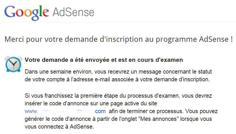 Google AdSense   Merci pour votre demande d'inscription au programme AdSense zoom