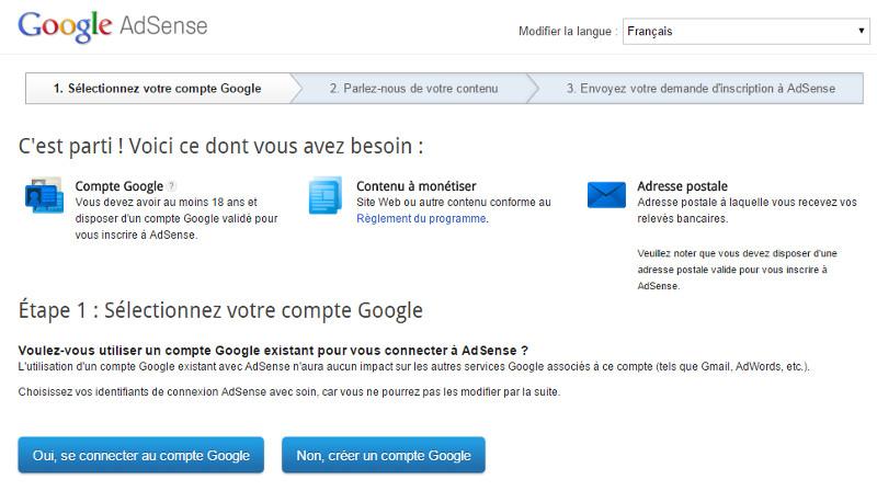 Google AdSense   Sélectionnez votre compte Google