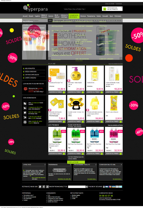 Hyperpara PARAPHARMACIE en ligne ! NUXE, CAUDALIE, BIOCYTE, AVENE, KLORANE, VICHY... Votre Para Chic à Petits Prix